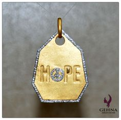 """""""HOPE"""" Pendant Made In Solid Sterling Silver With Yellow Gold Rhodium Polish. to buy contact at - gehnastore@gmail.com"""