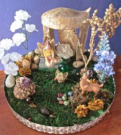FAIRY GARDEN Gazebo with Miniature Fairy and Crystal Ball +More OOAK
