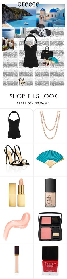 """""""Holiday in Greece"""" by class-in-the-corner-office ❤ liked on Polyvore featuring Norma Kamali, Belle de Mer, Vionnet, Hermès, AERIN, NARS Cosmetics, Lancôme, Tom Ford and Butter London"""