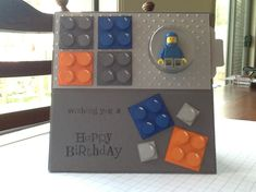 Boys Lego Card.  Uses Stampin' Up Circle Treat Cups to hold Lego figure.