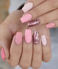 There are three kinds of fake nails which all come from the family of plastics. Acrylic nails are a liquid and powder mix. They are mixed in front of you and then they are brushed onto your nails and shaped. These nails are air dried. Matte Pink Nails, Pink Glitter Nails, Cute Acrylic Nails, Fun Nails, Acrylic Gel, Glitter Nikes, Matte Nail Art, Light Pink Nails, Glitter Acrylics