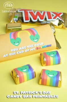 "St. Patricks Day Free candy bar printable - ""you are the pot of gold at the end of my rainbow"""