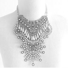 Brand New bohemian bib necklace Brand-new gorgeous silver colored necklace. It's made to look a little tarnished. Good quality! Jewelry Necklaces