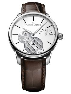 Maurice Lacroix Masterpiece Square Wheel Vintage Silver Dial Brown Crocodile Leather Men's Automatic Watch MP7158-SS001-101