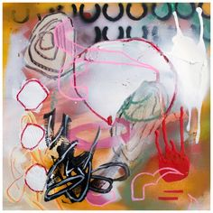 """THE OTHER BEGINNING, 2012, Fiona Ackerman, mixed media on board, 14"""" x 14"""""""