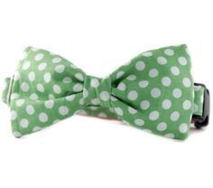 Green Bow Tie Dog Collar - Green and White Polka Dot Bow Tie Dog Collar - Lime Dot Bowtie Dog Collar, light green white bow tie dog collar