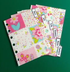 Filofax-Pocket-Mini-Organiser-Patchwork-Flowers-with-labels-set-of-6-Laminated Organisers, Filofax, Planners, Pocket, Storage, Mini, Flowers, Ebay, Scrappy Quilts