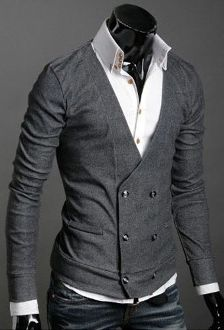 Men's Double Breasted Cardigan Gray