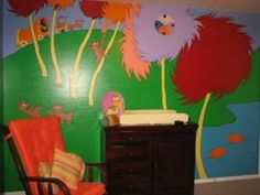 Eco Minded Nursery Wall Mural from Dr. Seuss' Lorax: Our Ultimate Eco Friendly LORAX Baby Nursery Wall Mural was the result of our determination to decorate a Dr Seuss baby nursery for our daughter.    This