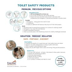 Are you looking for the safe, portable and dignified option for safe toileting at home ... and beyond? By combining the benefits of a raised toilet seat, toilet safety frame and rollator, one can safely use a toilet in ANY restroom. Dignity and independence restored with the Free2Go Rollator. Bathroom Safety, Toilet, Frame, Products, Picture Frame, Flush Toilet, Toilets, Frames, Gadget