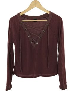 shelly lace-up ribbed sweater (burgundy)