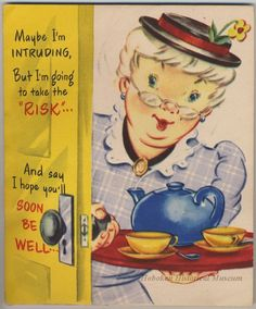 """""""Get Well"""" greeting card from Lipton Tea, ca. 1952-1965.  There is a place to attach a bag of tea on the inside.  (Hoboken Historical Museum)"""