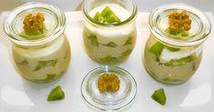 Leckere und fruchtige Kiwi-Orangen-Creme mit Erythrit gesüßt und verfeinert mit Nüssen und gemahlener Vanille.
