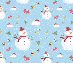 Snowman fabric by lesrubadesigns on Spoonflower - custom fabric
