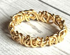 Solid 14K Gold Band Ring, 14K Gold Wire Wrapped Ring, 5mm Band, Real Gold Ring, Solid Gold Ring, Size 2 to 14, 14K Gold Weave Ring