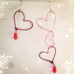 Love Love Love Earrings  Valentine's Earrings by 5one7designs #valentine #valentinesday #valentines #earrings #hearts #heart #pink #handmade #handcrafted #jewelry #jewelrydesign #locallymade #madeinusa #5one7designs #swarovski #crystal