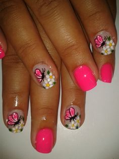 Pretty pink butterfly nail art design for summer | short nails