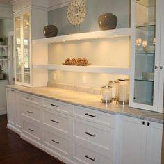 Elegant White Shaker Kitchen Cabinets In - Kitchen Buffet Ideas White Shaker Kitchen Cabinets, Kitchen Pantry Cabinets, Modern Kitchen Cabinets, Kitchen Shelves, Kitchen Modern, Kitchen Counters, Kitchen Storage, Kitchen Organization, Kitchen Buffet Cabinet