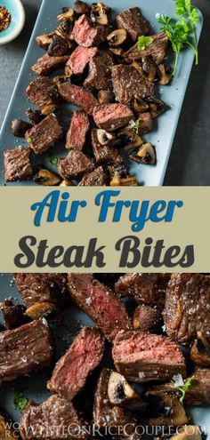 Best Air Fryer Steak Bites Recipe with Mushrooms SUPER DELICOUS!You can find Air fryer dinner recipes and more on our website.Best Air Fryer Steak Bites Re. Air Fryer Dinner Recipes, Air Fryer Oven Recipes, Steak And Mushrooms, Stuffed Mushrooms, Small Air Fryer, Air Fry Steak, Air Frier Recipes, Best Air Fryers, Air Fryer Healthy