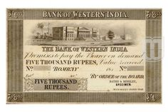 This rare 5000 Rupees Bank of Bombay note features a street scene near Bombay Town Hall, the Custom House and St. Learn more about Bombay Presidency 5000 Rupees notes at Mintage World. Commerce Notes, Five Thousand, Buy Coins, First Bank, Commercial Bank, East India Company, Mughal Empire, Bank Of India, Looking To Buy