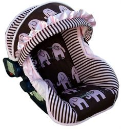 Infant Car Seat Cover in Baby Elephant Walk Pink by Nollie Covers