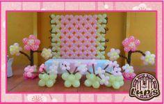 decoracion con globos de flores !! Flower Balloons, Balloon Backdrop, Balloon Ideas, Balloon Wall, Ballon Decorations, Birthday Decorations, Cherry Blossom Party, Wall Backdrops, Holidays And Events