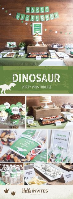 Dinosaur Birthday Printable DIY Party Pack Decorations Green Brown Dirt Boy Invitation Roar Stomp on over Invite Digital Printable