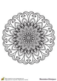 Coloriage mandala ethnique, fleur de chardon - Hugolescargot.com