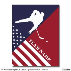 Ice Hockey Player On United States Flag Postcard