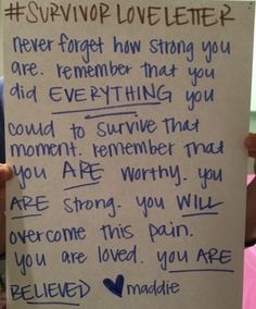 #SurvivorLoveLetter Sexual Assault Survivors Share Beautiful Love Letters to Themselves and Others