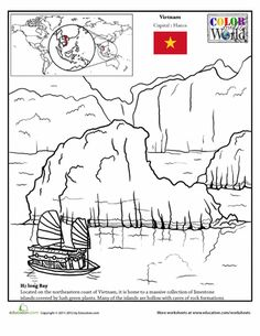 Worksheets: Color the World! Ha Long Bay