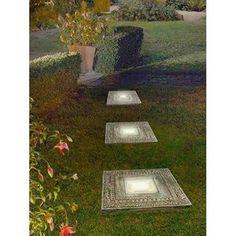 Outdoor 3-Piece Roman Solar Stepping Stones