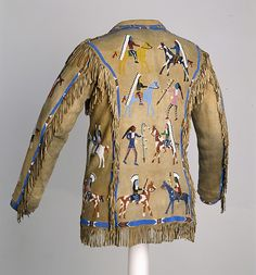 Man's Coat Date: ca. 1920 Geography: United States, North or South Dakota Culture: Lakota (Teton Sioux) Medium: Native tanned leather, glass beads, pigment