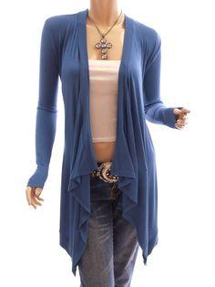 Patty Women Comfy Drape Collar Long Sleeve Asym Hem Cardigan