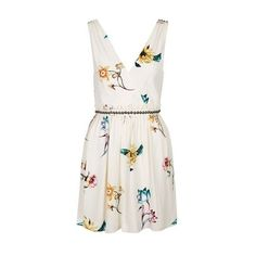TopShop Floral Wrap Front Sun Dress (92 CAD) ❤ liked on Polyvore featuring dresses, cream, mini party dresses, sun dresses, v neck skater dress, white v neck dress and white party dresses