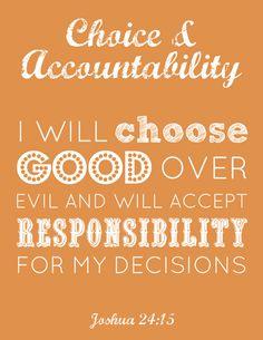 LDS Young Women FREE Choice & Accountability printable #YWs #printable