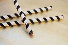 Vintage Striped Pencils (Set of 3) - Japanese, Made In Japan, Black and White, School Supplies, Desk and Office Supplies, Back to School