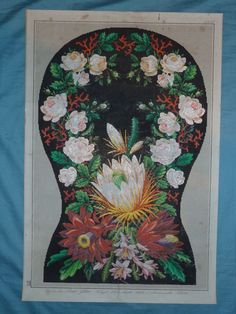Chair Set Antique Hand Painted Berlin Tapestry Patterns Exotic Flowers L Gluer | eBay