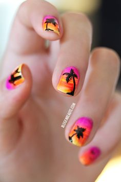 Sunset brights, orange, pinks, yellow fan brush stripes, summer, black free hand painted palm trees, nail art