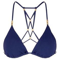 Vix 'Lucy' lattice back bead triangle bikini top (495 RON) ❤ liked on Polyvore featuring swimwear, bikinis, bikini tops, swimsuits tops, triangle swim top, padded tankini top, vix swimwear and embellished bikini