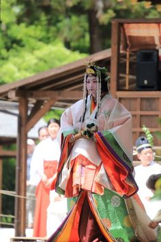 "上賀茂神社 - Pre-event of Aoi Matsuri (one of the three main annual festivals in Kyoto), held in Kamigamo Shrine. ""Saio-Dai"" in traditional Heian period apparel."