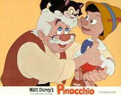 Disney'd Pinocchio, Gepetto, and Figaro the Cat Lobby Card