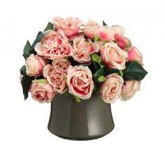 Pink Silk Flower Arrangment with Cabbage Roses ARWF1170