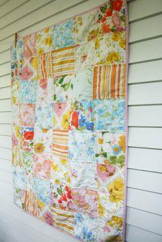 Craftyblossom: vintage sheet patchwork quilt.
