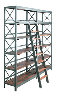 Wood And Metal Bookcase With Ladder Black Brown By World Market In 2018 Wishlist Pinterest