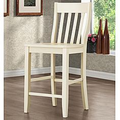 Roman Buttercream Slat Back 24 Inches Counter Height Stool