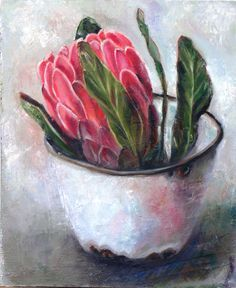 Protea oil painting by R. Visage Flor Protea, Protea Art, Protea Flower, Acrylic Flowers, Oil Painting Flowers, Oil Painting Abstract, Acrylic Art, Flower Paintings, Still Life Flowers