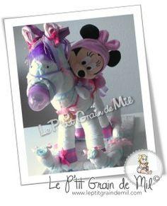 Gâteau de couches le cheval à bascule de Minnie ❤ rocking horse diaper cake ❤ Le P'tit Grain de Mil