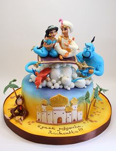 Aladdin and Jasmine cake Fancy Cakes, Cute Cakes, Yummy Cakes, Princess Jasmine Cake, Aladdin Cake, Fantasy Cake, Character Cakes, Disney Cakes, Disney Princess Cakes