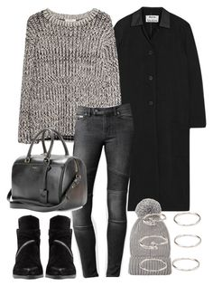 """""""Untitled #2660"""" by bubbles-wardrobe ❤ liked on Polyvore featuring Acne Studios, MANGO, AllSaints, Forever 21 and Yves Saint Laurent"""